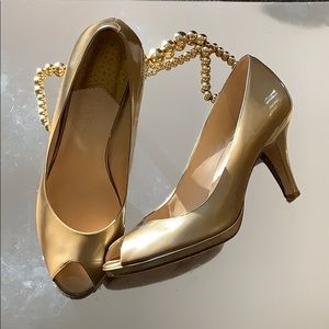 Cole Haan Nike Air Gold metallic Patent Pumps